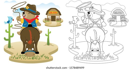 Vector cartoon illustration of bear the cowboy sitting on brown horse, coloring book or page