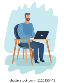 Vector cartoon illustration of beard man hysterically laughs while looking at the screen of laptop.