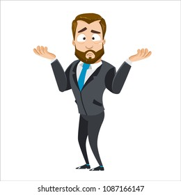 Vector cartoon illustration of bearded businessman character gesture oops, sorry or I do not know. Vector illustration in cartoon flat style, isolated on a white background.