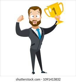 Vector cartoon illustration of bearded strong business man character holding a trophy. Vector illustration in cartoon flat style, isolated on a white background.