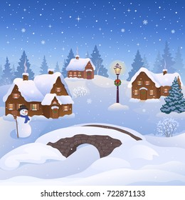 Vector cartoon illustration of a beautiful Christmas village and a snow man