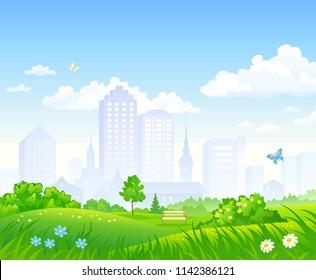 Vector cartoon illustration of a beautiful city park