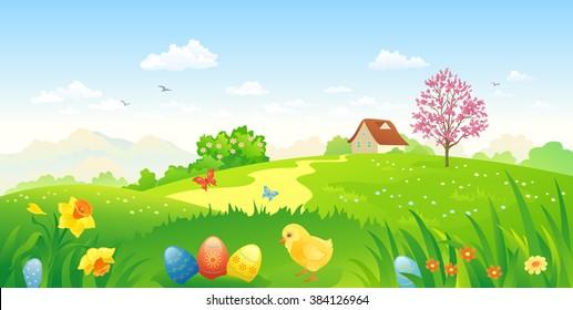 Vector cartoon illustration of a beautiful Easter landscape
