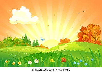 Vector cartoon illustration of a beautiful fall sunset landscape with flower meadows and falling leaves
