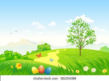Vector cartoon illustration of a beautiful green Easter landscape