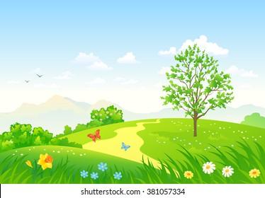 Vector cartoon illustration of a beautiful green spring landscape