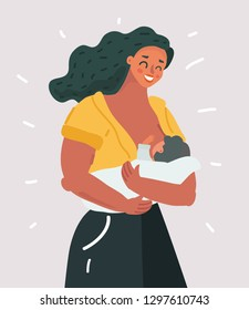 Vector cartoon illustration of Beautiful mother breastfeeding her baby child holding him in hands. Lactation concept on white background.