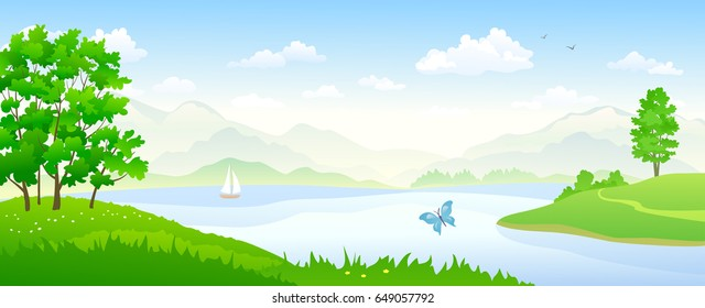 Vector cartoon illustration of beautiful river landscape panorama