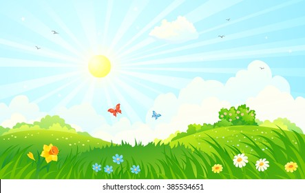 Vector cartoon illustration of a beautiful spring sunny meadow