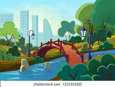 Vector cartoon illustration of a beautiful summer public city park with bridge and river in the sunrise morning.