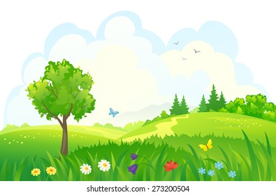 Vector cartoon illustration of beautiful summer green meadows and woods