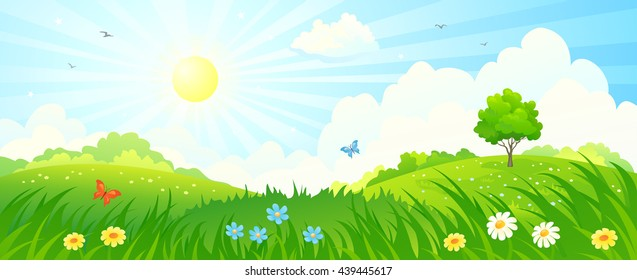 Vector cartoon illustration of a beautiful summer sunny meadow panorama
