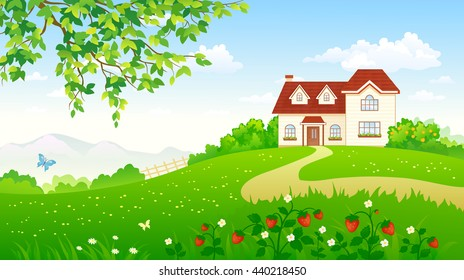 Vector cartoon illustration of a beautiful summer garden with a strawberry meadow and a house