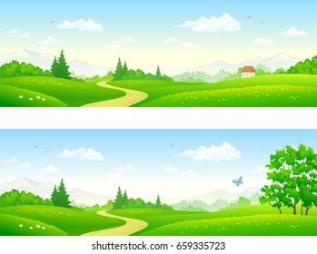 Vector cartoon illustration of beautiful summer path banners