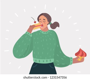 Vector cartoon illustration of Beautiful woman with closed eyes is eating a cake. Lady near gluttony. Female character on white background.