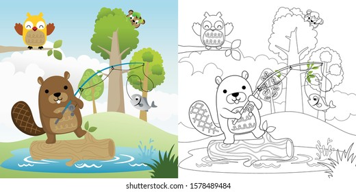 Vector cartoon illustration of beaver with its friends fishing in a swamp, coloring book or page