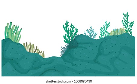Vector cartoon illustration of bed of corals isolated against white background