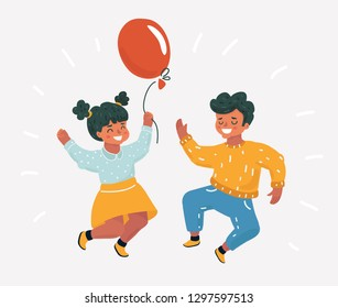 Vector cartoon illustration of best friends. Little kids celebrate. Girl and Boy jumping for joy. Childish character on white background.