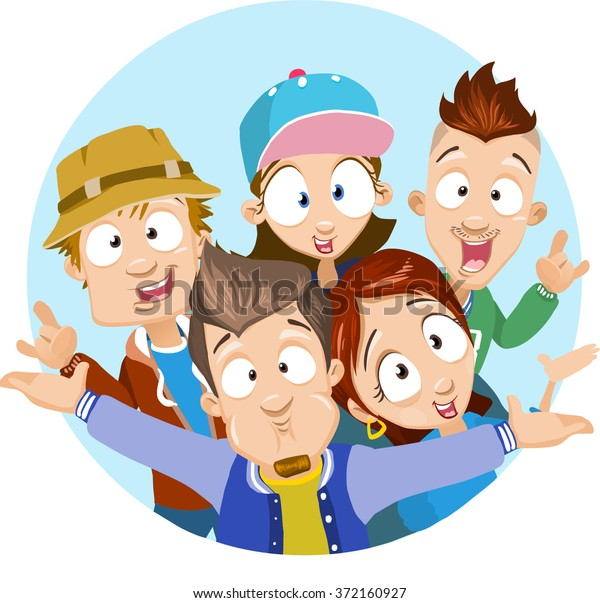 Vector Cartoon Illustration Best Friends Group Stock Vector Royalty
