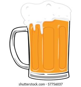 Vector cartoon illustration of a big beer mug