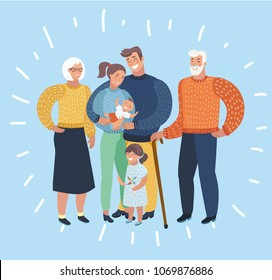 Vector cartoon illustration of Big family portrait. Grandfather, grandmother, mother, son, daughter, father. Three generation.