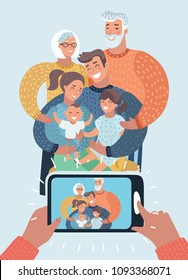 Vector cartoon illustration of Big Family. Kids, Parents ,Grandparents. Take Photo of two generation people.