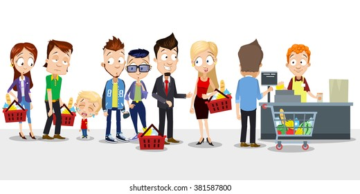Vector cartoon illustration of big queue of different people in grocery store. Including crying kid, businessman, hipsters, cashier and other people