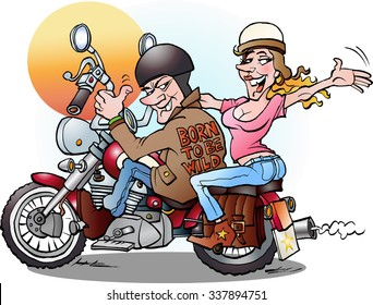 Vector cartoon illustration of a biker couple on a ride