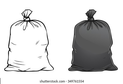 Vector cartoon illustration of black full trash bag isolated on white