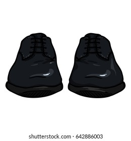Vector Cartoon Illustration - Black Pair of Leather Men Shoes. Front View