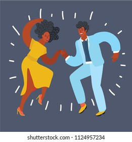 Vector cartoon illustration of Black vector silhouette of a couple dancing swing or tap dance. Black Afro American people. Male and female characters.