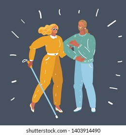 Vector cartoon illustration of Blind person walking with cane on dark. Young smiling male volunteer helping and supporting disabled woman.