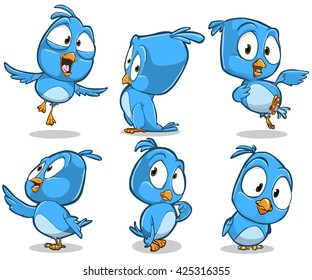 Vector cartoon illustration of blue bird character with different poses and emotions