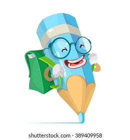 Vector cartoon illustration of a blue pencil mascot character schoolboy in glasses and carries a backpack goes to school