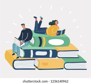 Vector cartoon illustration of book readers concept of a small character reading a book and a huge book piled up. Man and woman read book and work at laptop.