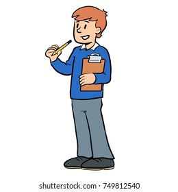 vector cartoon illustration of a boy with a clipboard and pencil conducting a survey, at school, in school uniform, asking questions, standing, talking, asking or speaking.