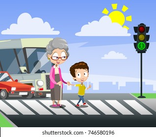 Vector cartoon illustration of boy helping senior lady to cross the street holding hands.