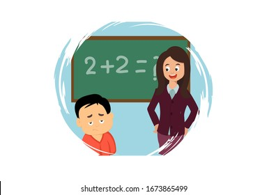 Vector cartoon illustration. Boy  not understand  what teacher is saying. Isolated on white background.
