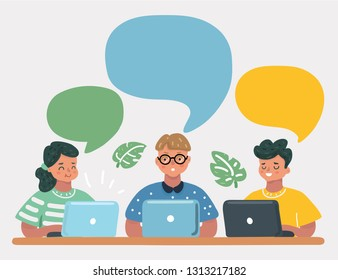 Vector cartoon illustration of boys and girls studying together laptop. Modern remote education concept. Speech bubble above them. Learning online lessons.