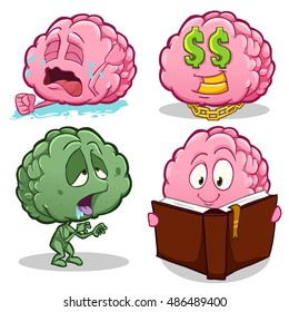 Vector cartoon illustration of brain character. Different poses and emotions.Brain is crying, dreaming about money, walking zombie, reading a book