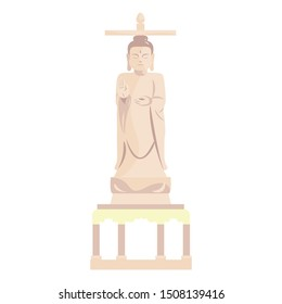 Vector Cartoon Illustration Of Buddha Statue Isolated