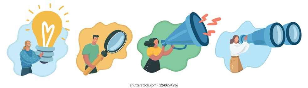 Vector cartoon illustration of Business characters set. Different direction of work at team. Creatives, marketers, SMM, testers, researchers, HR. Human character close up view with giant object.