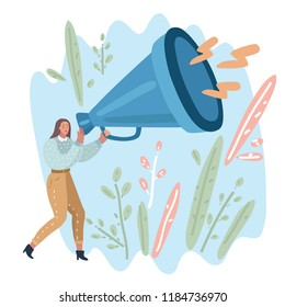 Vector cartoon illustration of business woman holding a big megaphone loudspeaker speaking loudly announcing some good news Human modern female character.