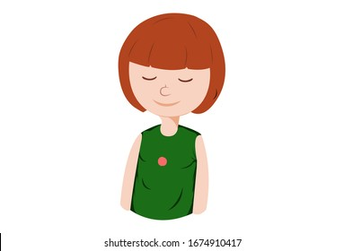 Vector cartoon illustration of calm girl. Isolated on white background.