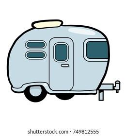 vector cartoon illustration of a caravan or camper.