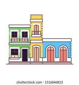 Vector Cartoon Illustration Of Caribbean Historic Houses Isolated
