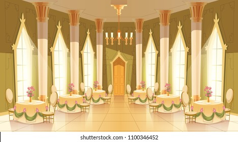 Vector cartoon illustration of castle hall, ballroom for dancing, royal receptions, dinners or banquets. Interior of big luxurious room with dance floor, chandelier, columns, tables in medieval palace