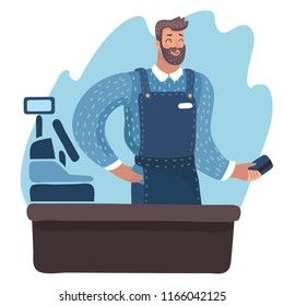 Vector cartoon illustration of Caucasian cashier standing at the checkout in a supermarket, cash register. Hold plastic credit card in hands.