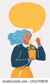 Vector cartoon illustration of character eating noodles. Funny Chinese food concept. Speech bubble above her. Woman character on white isolated background.