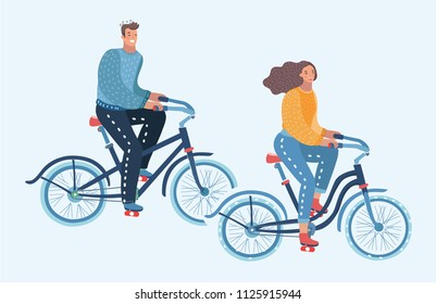 Vector cartoon illustration of character on adult young man and woman riding bicycles.